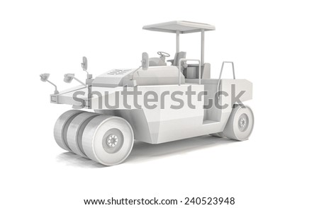 3D rendering of a pneumatic tyred roller over white background. - stock photo