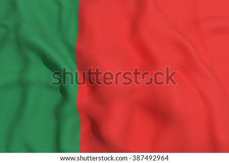 3d rendering of a Portugal flag waving
