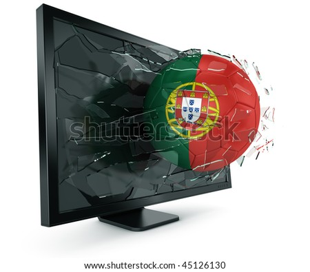 3d rendering of a Portuguese soccerball breaking through monitor - stock photo