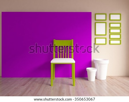 3D rendering of a purple empty interior with a green chair
