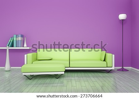 3D rendering of a purple room with a green sofa in comic style - stock photo