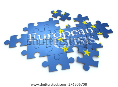 3D rendering of a puzzle with the words European Crisis - stock photo