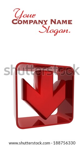 3D rendering of a red arrow icon with a plastic texture - stock photo