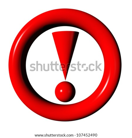 3D rendering of a red attention traffic sign on white background - stock photo