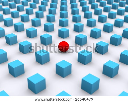 3d rendering of a red ball amidst blue boxes - stock photo