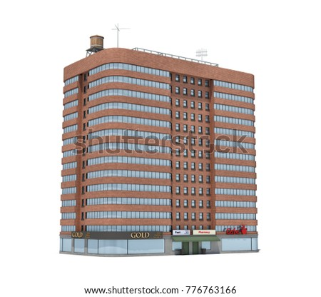 3d Rendering Of A Red Brick Apartment Building With Shops On The Ground  Floor. Living