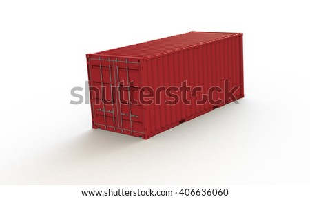 3D rendering of a red container isolated on white. the container casts shadow on a white surface