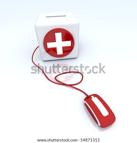 3D rendering of a red moneybox with a white cross connected to a computer mouse