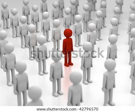3D rendering of a red person amongst other grey ones. - stock photo