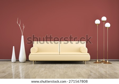 3D rendering of a red room with a sofa - stock photo