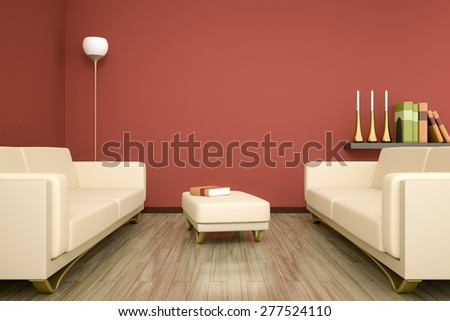 3D rendering of a red room with sofa and space for your content - stock photo