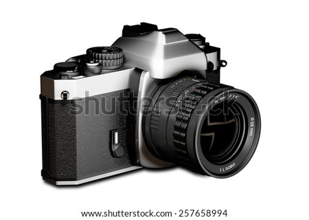 3d rendering of a reflex analog camera - stock photo