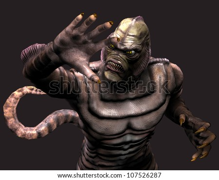 3d rendering of a reptilian monster in pose as illustration