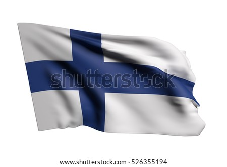 3d rendering of a Republic of Finland flag waving on white background