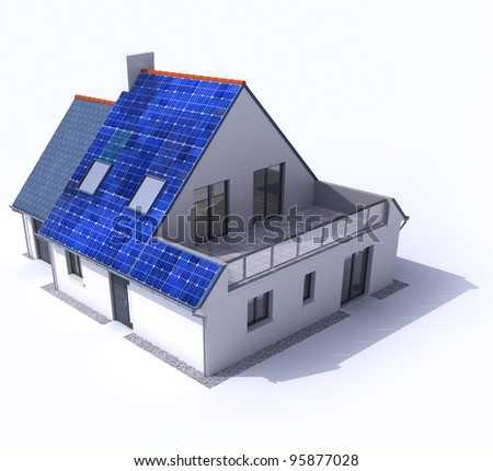 3D rendering of a residential house with solar panels on the roof - stock photo