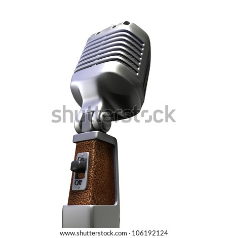 3D rendering of a retro microphone on a white background - stock photo