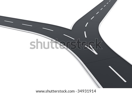 3d rendering of a road splitting up