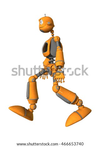 3D rendering of a robot isolated on white background