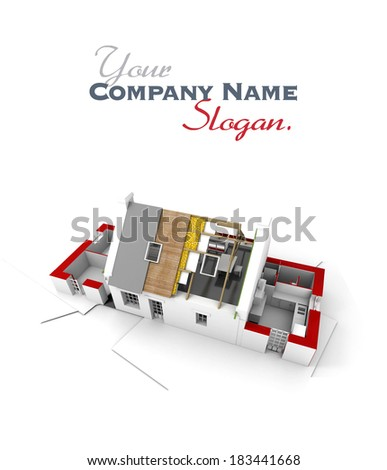 3D rendering of a roofless house on top of architect plans - stock photo