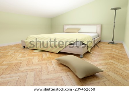 3d rendering of a room with a bed and a lamp - stock photo