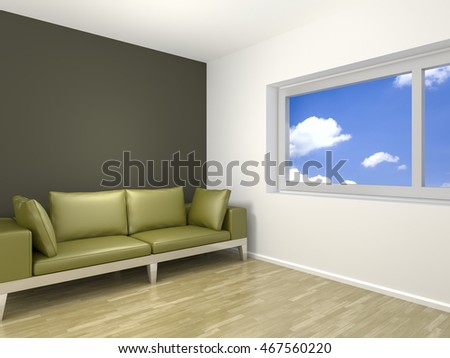 3d rendering of a room with a green sofa and space for your content