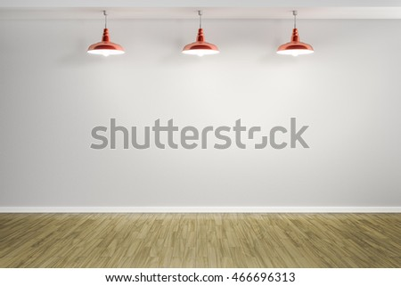 3d rendering of a room with three red lamps