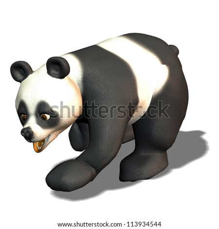3d rendering of a running Panda Bear as an illustration with shadow