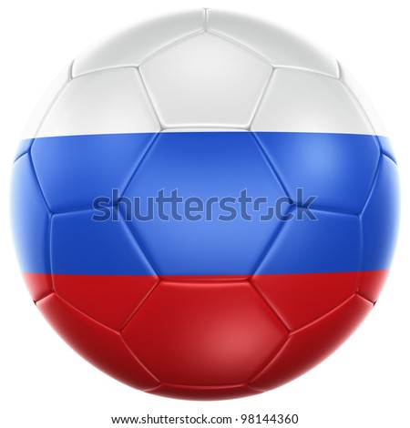 3d rendering of a Russian soccer ball isolated on a white background - stock photo