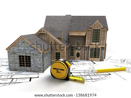3D rendering of a rustic house on top of blueprints with a tape measure and a pencil - stock photo