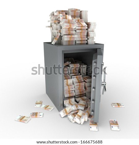 3D rendering of a safe full of fifty euro notes - stock photo