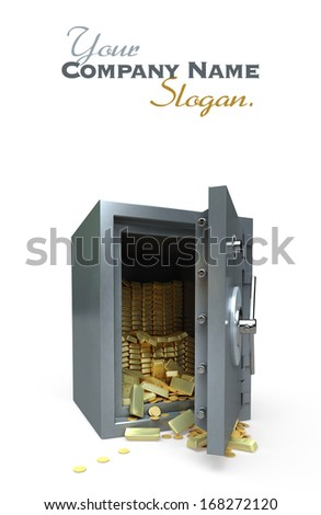 3D rendering of a safe full of gold - stock photo