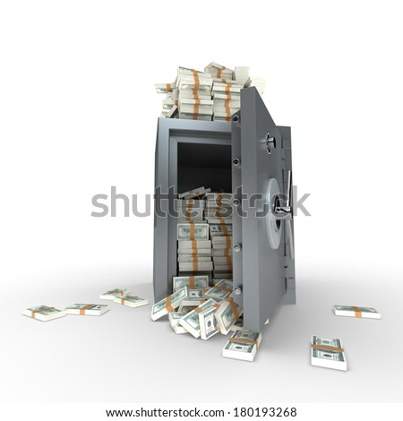 3D rendering of a safe full of hundred dollar notes - stock photo
