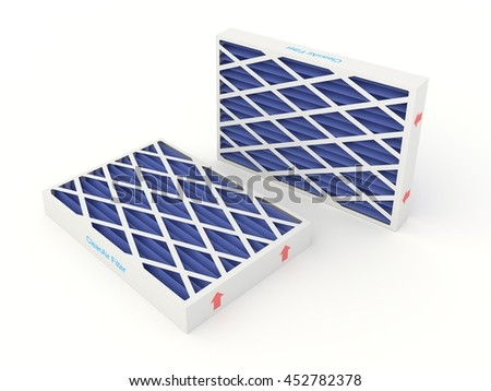 3D rendering of a set of air conditioning and furnace air filters. - stock photo
