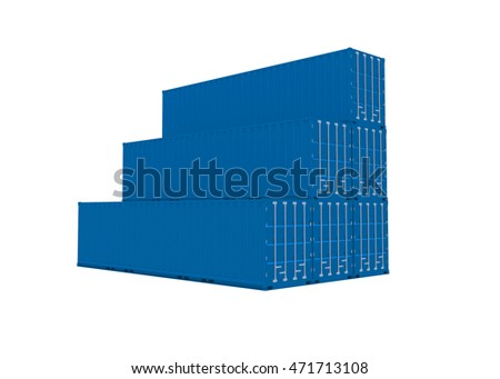 3d rendering of a shipping blue containers.