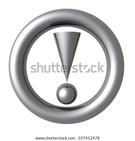 3D rendering of a silver attention traffic sign on white background - stock photo