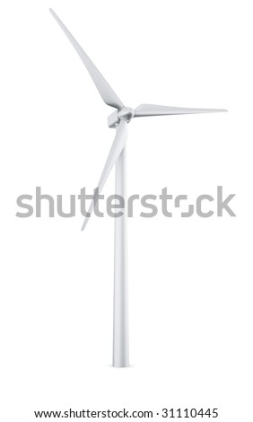 3d rendering of a single wind turbine in a wite studio setup - stock photo