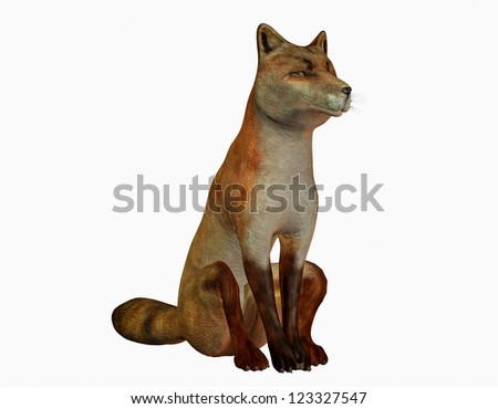 3D rendering of a sitting fox