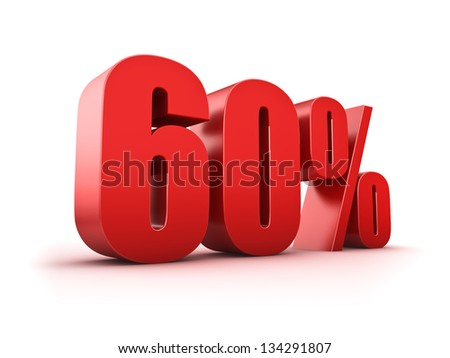 3D Rendering of a sixty percent symbol