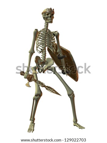 3D rendering of a skeleton warrior
