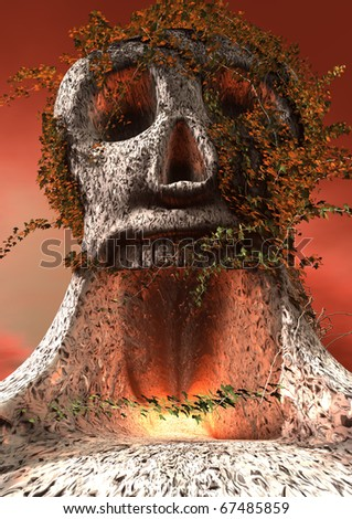 3d rendering of a skull shaped tree - stock photo