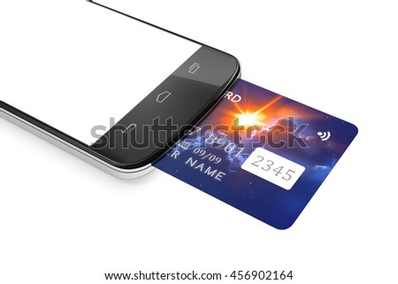 3d rendering of a smartphone and a credit card for mobile payment - stock photo