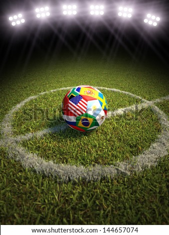3d rendering of a soccer ball on a soccer field of the participating countries in soccer. More sports backgrounds available in my profile. - stock photo