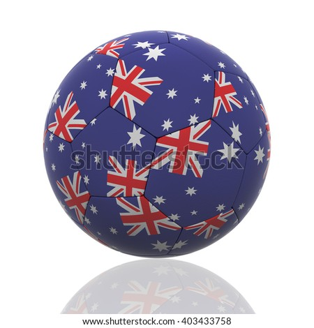 3D rendering of a soccer ball with Australia flag on white. - stock photo