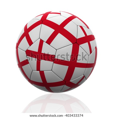 3D rendering of a soccer ball with England flag on white. - stock photo