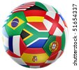 3d rendering of a soccer ball with flags of the participating countries in world cup 2010 - stock vector