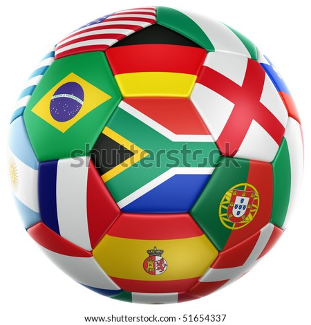 3d rendering of a soccer ball with flags of the participating countries in world cup 2010 - stock photo
