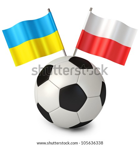 3d rendering of a soccer ball with flags Poland Ukraine. Euro 2012 cup. White background - stock photo