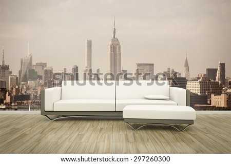3D rendering of a sofa in front of a photo wall mural New York - stock photo