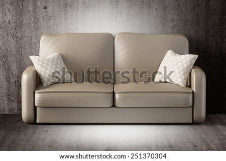 3d rendering of a sofa on a dirty room - stock photo