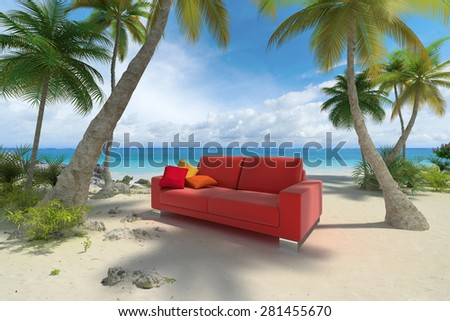 3D rendering of a sofa on a tropical beach - stock photo